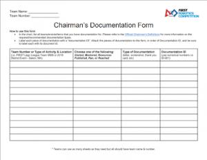 Editable Chairman's Documentation Form